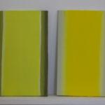 Petite étude « jaune », châton de saule 1, 2 , etc, huile sur panneau, 12 x 20 cm, 2016