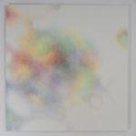 Modulation chromatique n°14, cercle chromatique en 24 couleurs, crayons de couleur sur papier marouflé sur dibond, 100 x 110 cm, 2018.