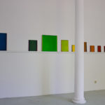 Installation de 11 monochromes, série des monochromes en 12 couleurs, huiles sur panneaux, 2015