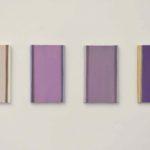 « Petites études (nuancier) : chicorée », huile sur panneaux, 12 x 20 cm, 2018.
